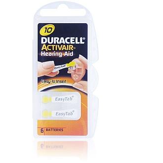 Size 10 Duracell Activair - 1 packet (6 cells)
