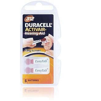 Size 312 Duracell Activair - 10 packets (60 cells)