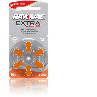 Size 13 Rayovac Extra Advanced - 1 packet (6 cells)